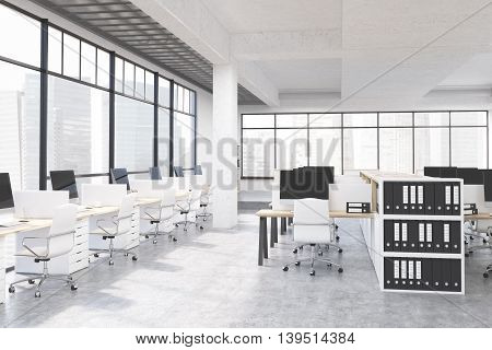 Large Office Room With Computers