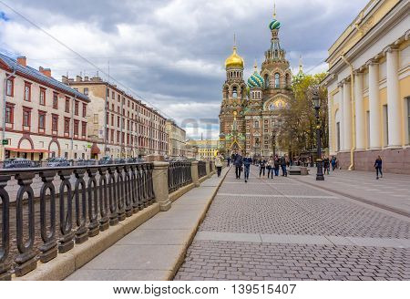Russia Saint-Petersburg - May 7 2014. Church of the Savior on Blood on Canal Griboyedov