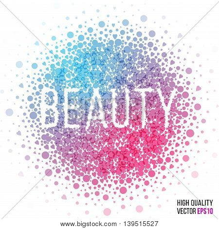 Beauty design for greeting card template, with splash and artistic explosion effect. Pink, blue, vector.