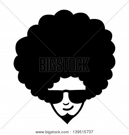 Doodle illustration of man face with frizzy hair