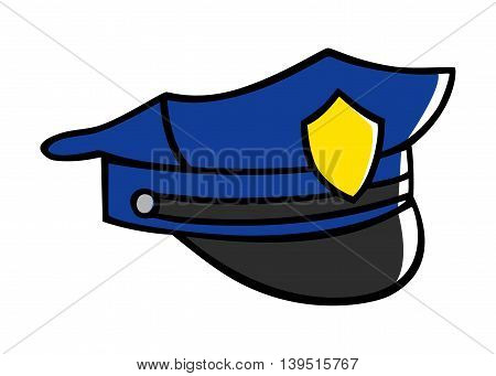 Doodle illustration of a police hat isolated on white