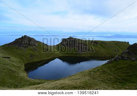 Lake in the Highlands on the Isle of Skye Scotland.