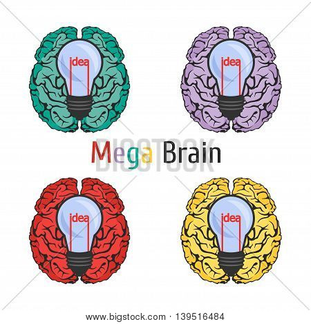 Vector clipart icon of the human brain with idea