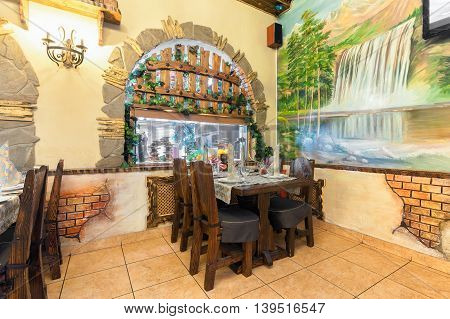MOSCOW - JULY 2014: The interior in a nautical theme of the restaurant