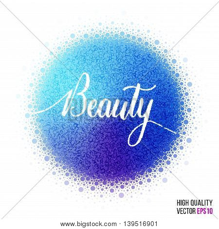 Beauty design for greeting card template, with splash and artistic explosion effect. Blue, purple vector.