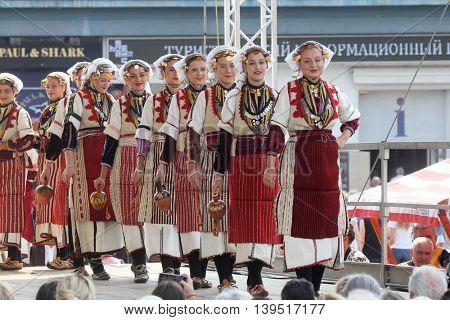 ZAGREB, CROATIA - JULY 22: Members of folk group Etnos from Skopje, Macedonia during the 50th International Folklore Festival in center of Zagreb, Croatia on July 22, 2016