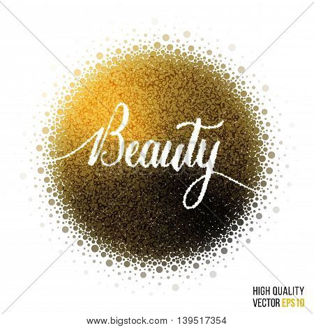 Beauty design for greeting card template with splash and artistic explosion effect. Glitter golden vector.