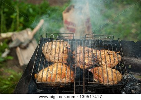 The is Grill Chicken Sticks on the Grid with Smoke, Fried Meet, Cooking Outside, Picnic with Barbecue. Food Background