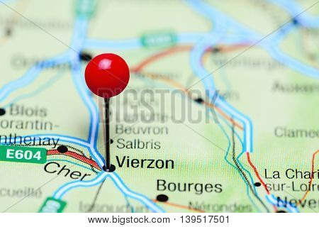Vierzon pinned on a map of France