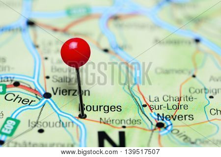 Bourges pinned on a map of France