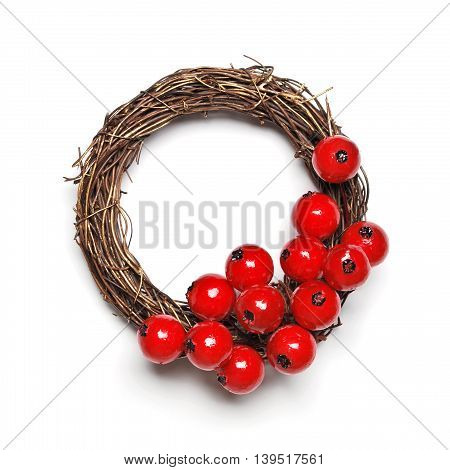 Christmas wreath decoration with hawthorn on white background