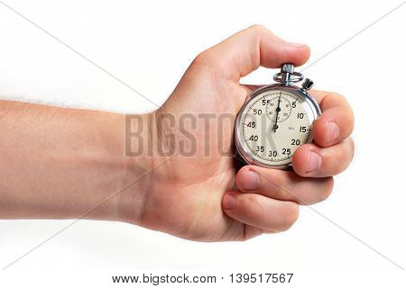 Man's hand holding stopwatch, isolated on the white background