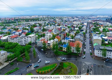 Aerial View Of Reykjavik Center