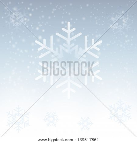 Vector fluffy white snowflake on gray background