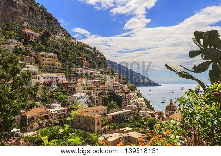 Amalfi coast (Costiera Amalfitana):panoramic view of Positano town.