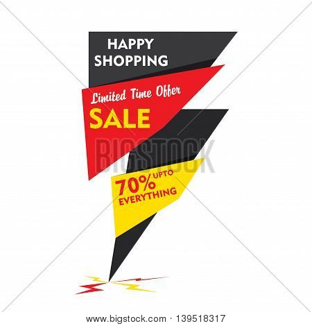 happy shopping , limited time offer sale banner  design vector