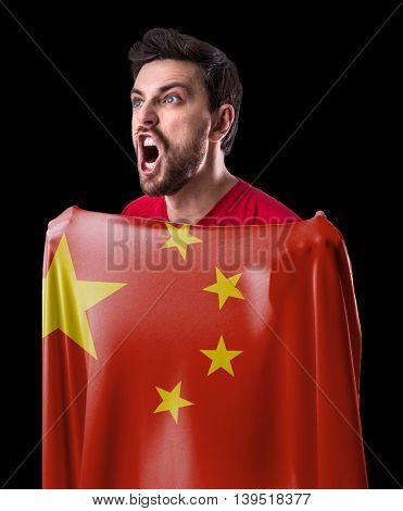 Athlete holding the flag of China