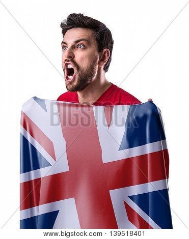 Athlete holding the flag of UK