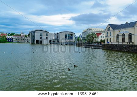 The Tjornin (the Pond) And The Radhus,  Reykjavik