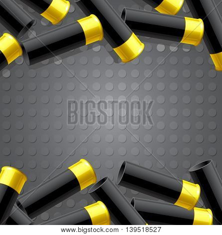 Background with ammunition for hunting. Vector illustration