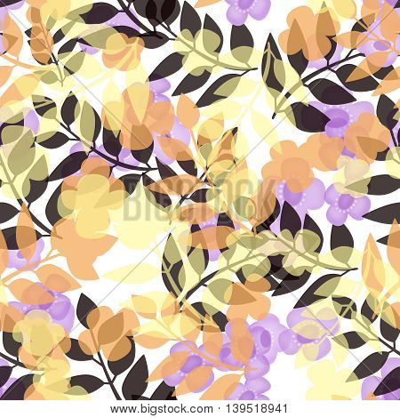 Seamless bright floral pattern on white background
