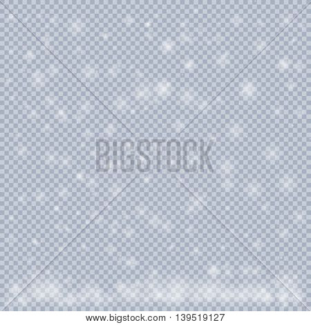 falling snow on a transparent background, christmas decoration