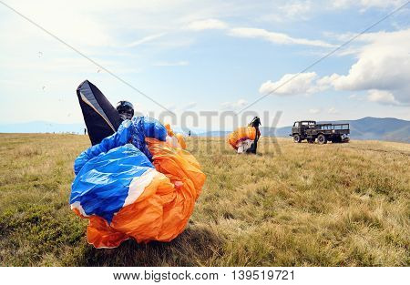 Paraglider Preparing For A Flight.