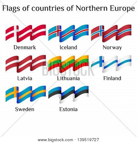 Set of flying flags of Northern Europe countries in waves isolated on white background. Ensigns of 8 Northern Europe member states. Vector illustration