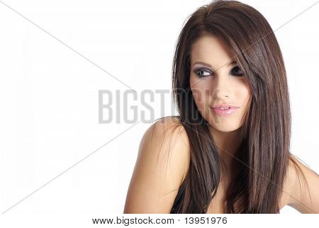 Portrait of a  beautiful woman with creativity hairstyle and makeup