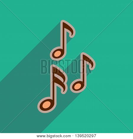 Flat web icon with long shadow musical notes
