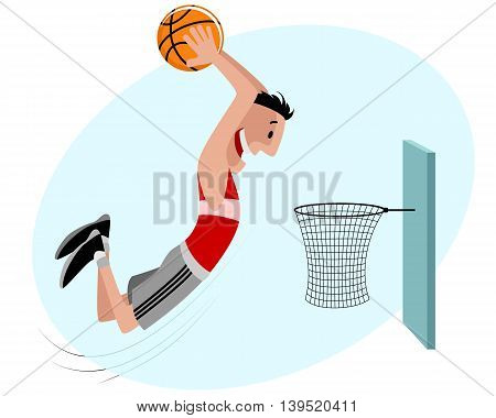 Vector illustration of a basketball player with ball