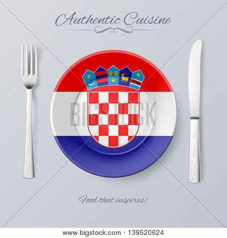 Authentic Cuisine of Croatia. Plate with Croatian Flag and Cutlery
