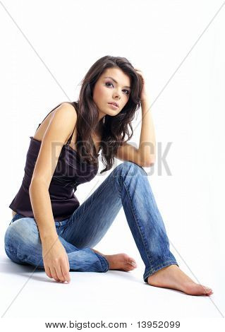 Beautiful girl in blue jeans