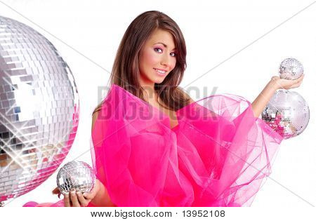 sexy showgirl girl over mirror ball background
