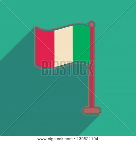 Flat web icon with long shadow flag of Ireland