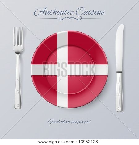 Authentic Cuisine of Denmark. Plate with Danish Flag and Cutlery