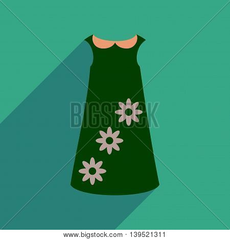 Flat icon with long shadow dress flowers