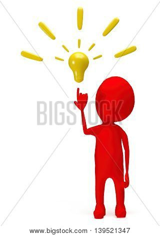 3D Red Character Pointing Hand Towards A Bulb Concept