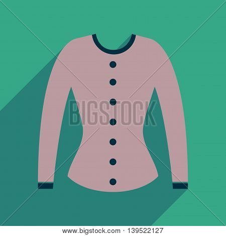 Flat icon with long shadow  women cardigan