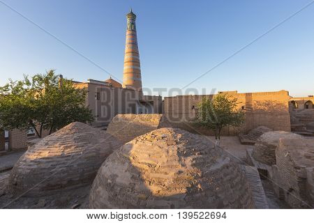 Domes and Minarets in  the ancient city of Khiva, Uzbekistan.