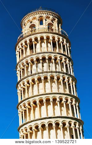 Leaning tower of Pisa against bright blue sky, Italy