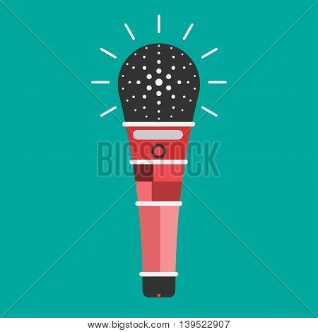 Microphone icon color background red tone flat
