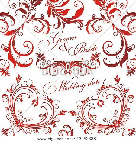 Wedding press wall. Red patterns on a transparent background. Vector illustration