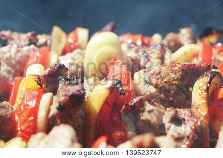 Meat and vegetables grilled on charcoal on a background of a smoke, close-up