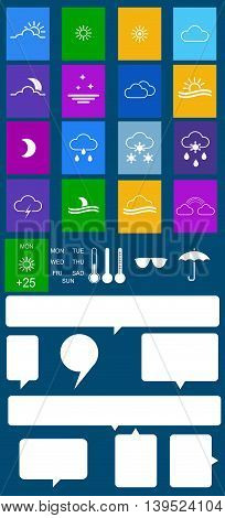 Set of flat colored weather icons with speech bubbles. Vector