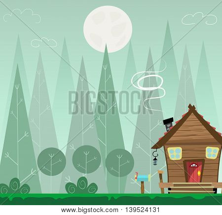 Night forest landscape and house, shelter for tourists or hikers. Cartoon vector illustration