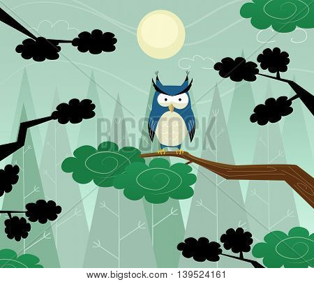 Owl sitting on branch in the night forest. Vector illustration