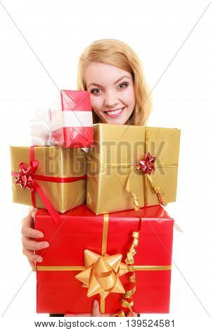 People celebrating holidays love and happiness concept - smiling blonde girl with gift boxes isolated