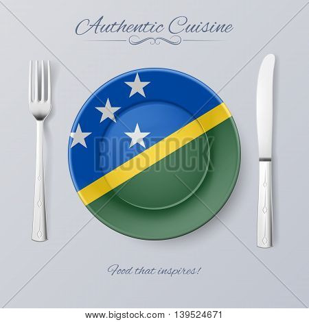 Authentic Cuisine of Solomon Islands. Plate with Flag and Cutlery