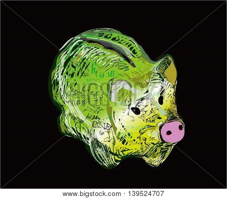 A pig - money pot, painted like a dollar bill, illustration on black, concept of savings